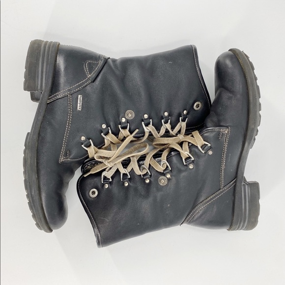 Joseph Siebel black combat leather winter boots